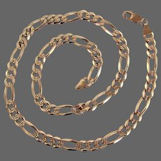 55.9 Grams, 14K YG Reversible Fancy Figaro Link Necklace 23""