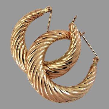 14K YG Large Swirled Hoop Earrings