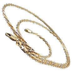 "16.3 Grams 14K WG & YG Italian Glitter Sparkle Necklace 24 1/4"""