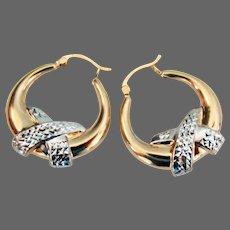 """14K YG & WG Hoop Earrings 1 1/8"""""""