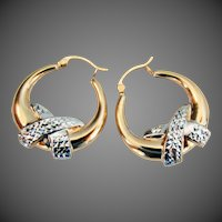 14K YG & WG Hoop Earrings 1 1/8""