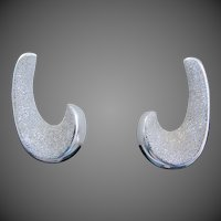 "Sparkling 14K White Gold Italian  ""J"" Hoop Earrings 6.3 Grams"
