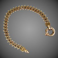 "11.3 Grams, 14K YG Fancy Link Bracelet 7 1/8"" Closed"