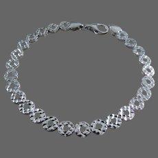 """18K Italian White Gold Bracelet 6 3/8"""" Closed"""