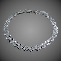 "18K Italian White Gold Bracelet 6 3/8"" Closed"