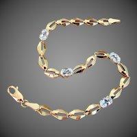 "14K YG Aquamarine Bracelet 7 1/4"" Closed"