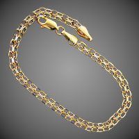 14K YG Fancy Double Oval Link Bracelet