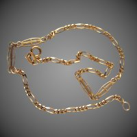 "14K YG Italian Fancy Link Anklet 9 3/4"" Closed"