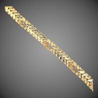 9.4 Grams 14K YG Link Bracelet with Leaf & Vine Design