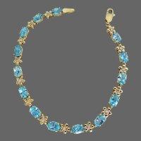 "14k YG Blue Topaz & Diamond Bracelet, 7"""