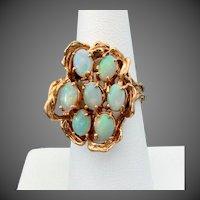 14K YG Australian Opal Ring Size 6 3/4 - Snug 7