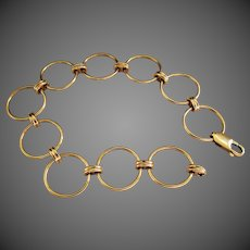 "14.4 Grams, 14K YG Circle Link Bracelet 7 1/2"""