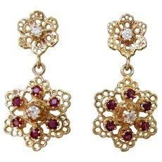 5.9 grams, 14K YG Ruby and Diamond Dangle Earrings