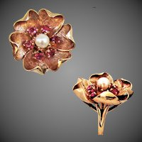 8.2 Grams, 14k YG Ruby & Cultured Pearl Ring Size 7 1/2 - 7 3/4
