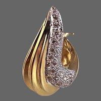 "13.4 grams, 14k YG Champagne Diamond Swirled ""J"" Earrings"
