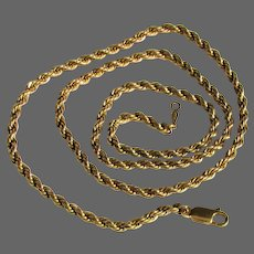 13.5 Grams, 14K YG Rope Chain Necklace 20""