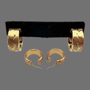 4.9 Grams, 14K YG Italian Wide Hoop Earrings