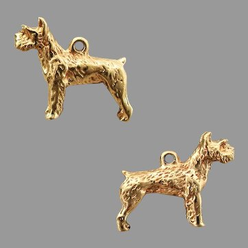14K YG Wirehaired Pointing Griffon Dog Charm