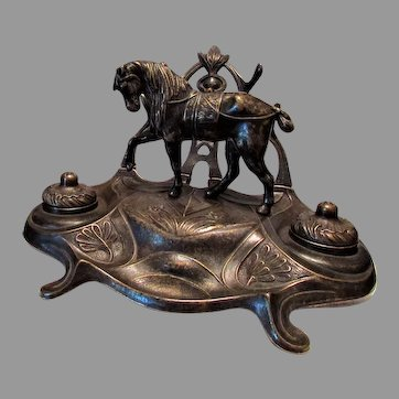 French Victorian Style Double Inkwells with Prancing Horse
