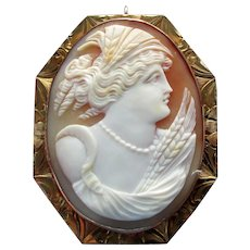 14K YG Hand Carved Shell Cameo Pendant &  Pin, Goddess Ceres