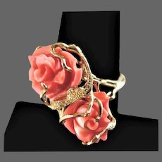18K YG Natural Coral Double Roses Ring Size 8