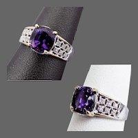 14K WG Lab Purple Sapphire Ring with Diamonds, Size 6 3/4