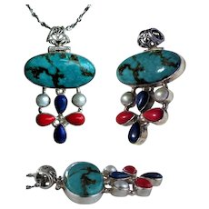 Sterling Silver Pendant with Turquoise, Lapis Lazuli, Red Coral and Cultured Pearls