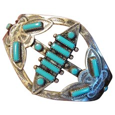 1940's - 50's Bell Trading Company Navajo Turquoise Cuff in Sterling Silver