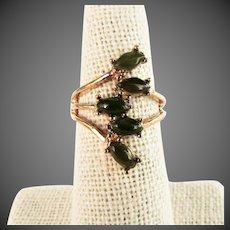14K YG Nephrite Jade Ring, Size 5 3/4