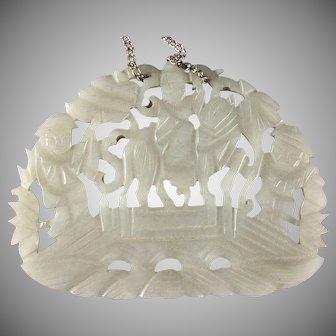 Jade Pendant, Hand Carved Pierced - Man Riding Horse Over Bridge