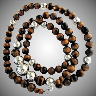 """New Old Stock SAKS Fifth Avenue Tiger's Eye & Sterling Silver Bead Necklace, 32"""""""