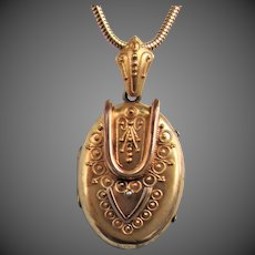 Antique Victorian Gilt Locket Pendant with Etruscan Design