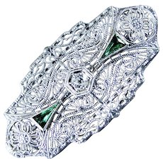 14K WG Art Deco Pin with Diamond