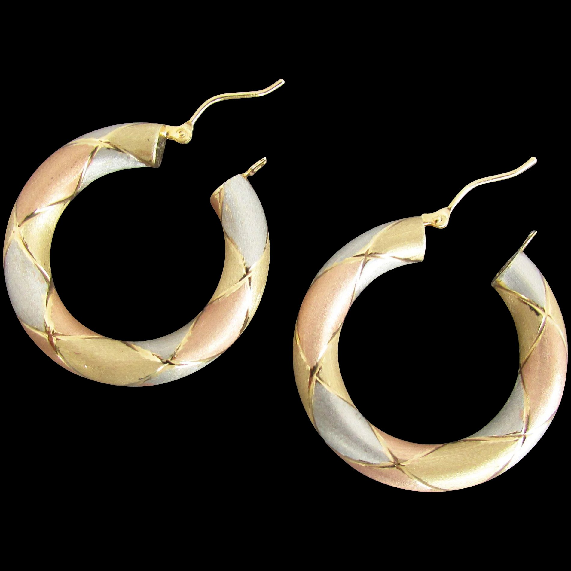 overstock overlapping italian gold jewelry watches oval shipping today two earrings triple hoop free product fremada tone