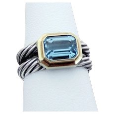 David Yurman Sterling & 18K Albion Cable Ring with Blue Topaz, Size 7 1/2