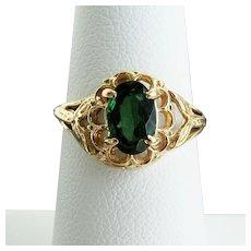 14K YG Green Tourmaline Ring size 6 1/4