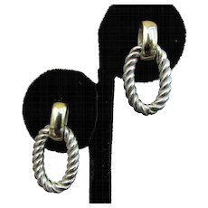 18K YG & Sterling Silver Cable Doorknocker Earrings