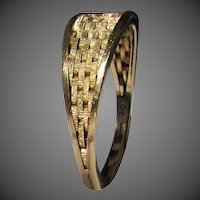 "14K YG ""Stacked Brick"" Ring Size 6 3/4"