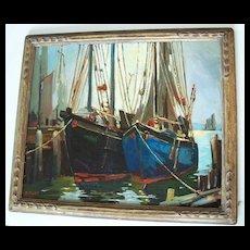 Henry J Billings   Nautical oil  Painting