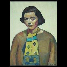 Mortimer Borne   Modernist   Portrait of  the artists wife