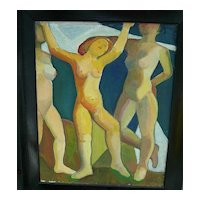 Mortimer Borne   Dancing Nymphs   Oil Painting