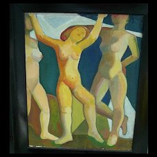 Mortimer Borne   Dancing Nymphs   Oil Painting
