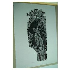 Thomas Jefferson   AAA  Woodcut  by Jacob Landau,  listed artist