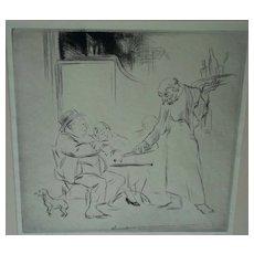 Edmund Blampied   etching   Les Deux Petite Verres  1928
