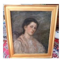 Boston School    Oil    Portrait of a Young Lady