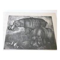 Hippopotamus Art  Susan Willard Flint  lithograph