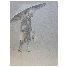 "Hayashi  ""Man in Storm""  Japanese  Vintage"