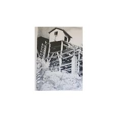 "David T Grose  "" Shore House""   Lithograph"