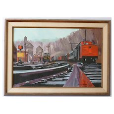 Train Yard   Large oil   Paul F Ashton