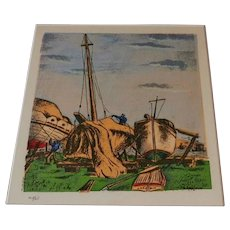 Boatyard  by Ernest Hopf   9 color silkscreen 1941